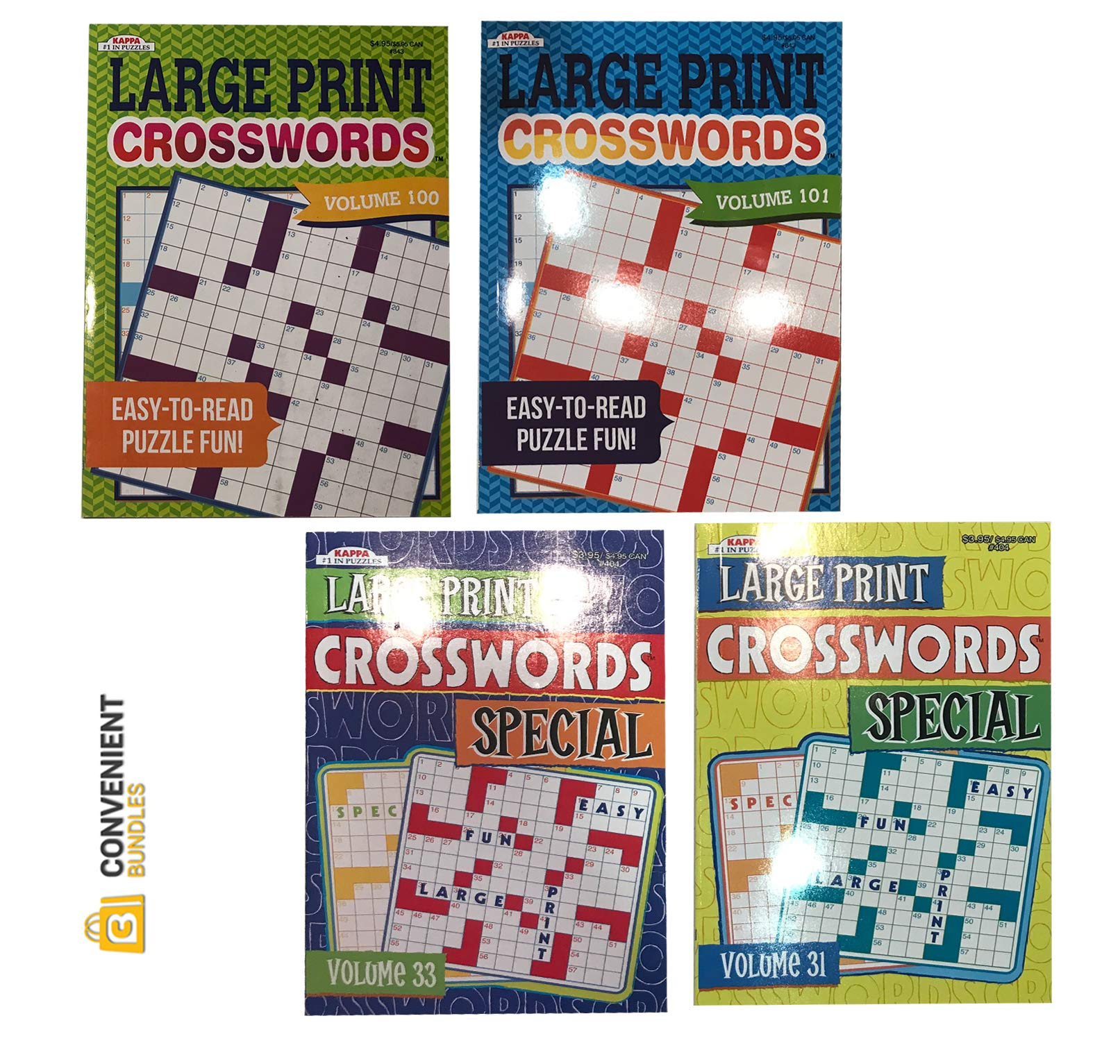Convenient Bundles Large Print Crossword Puzzles for Adults (4 Books) 80 Challenging Mental Strategy Games for Men, Women | Home and Travel Use | Minimize Eye Fatigue, Strain