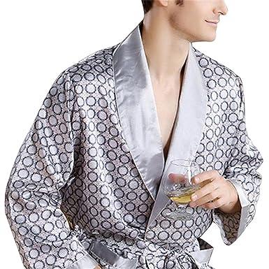 Orcan Bluce Pyjamas Mens Luxury Bathrobe Geometric Robes V-neck Imitation Silk Knitted Sleepwear Full Sleeve Nightwear at Amazon Mens Clothing store: