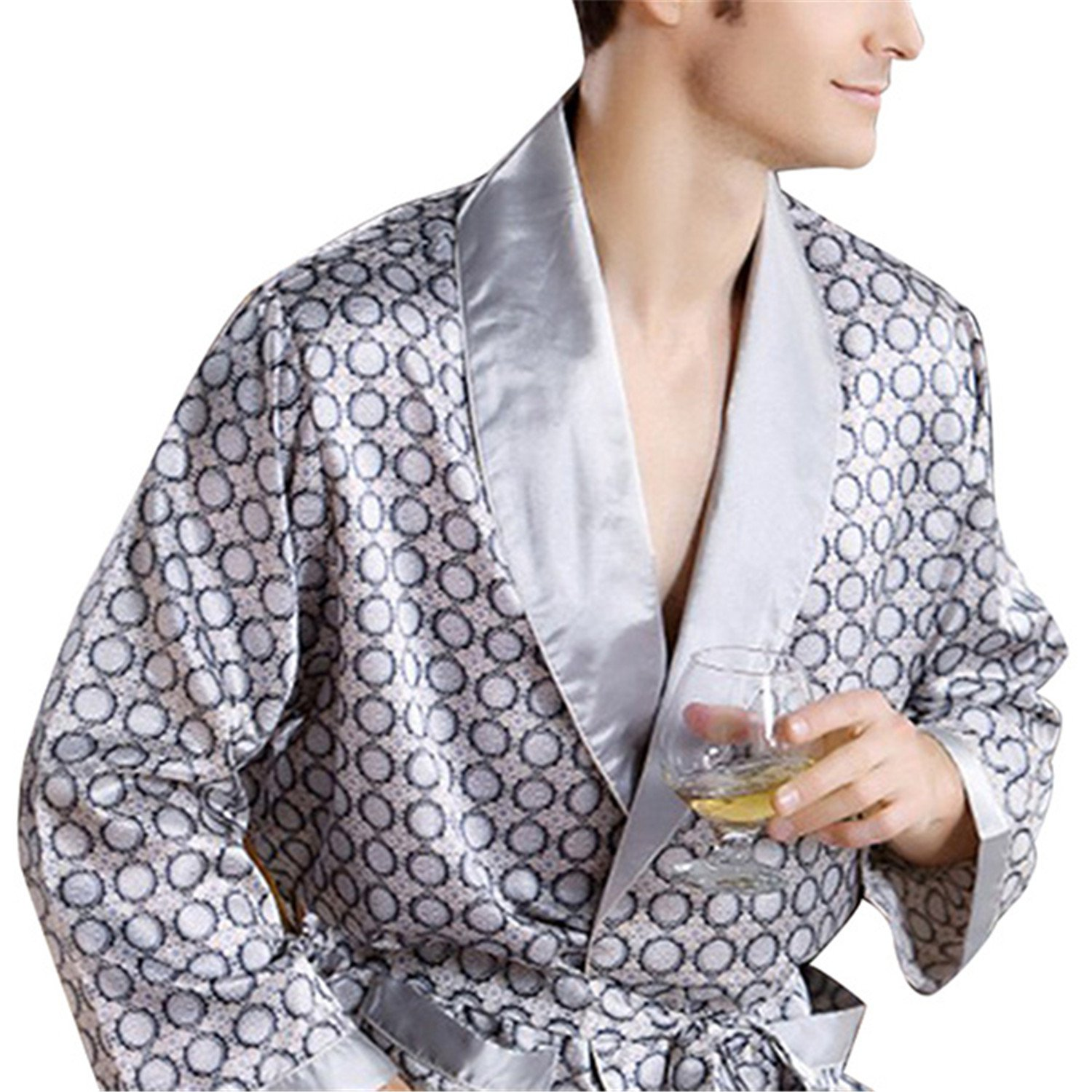 Orcan Bluce Pyjamas Mens Luxury Bathrobe Geometric Robes V-neck Imitation Silk Knitted Sleepwear Full Sleeve Nightwear 01 L by Orcan Bluce
