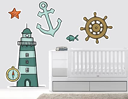Theme Nautical Nursery  Baby Boy Room Decorations Lighthouse Fishes Anchor And Waves 701 Mural Wall Decal Sticker For Home Bedroom