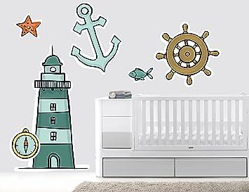 Faro Anchor brújula náutico guardería vinilo de pared para cuarto de ...