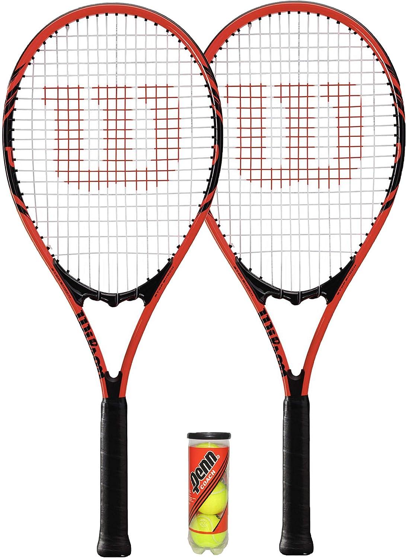 WILSON Federer - 2 Raquetas de Tenis para Adultos + 3 Pelotas de Tenis