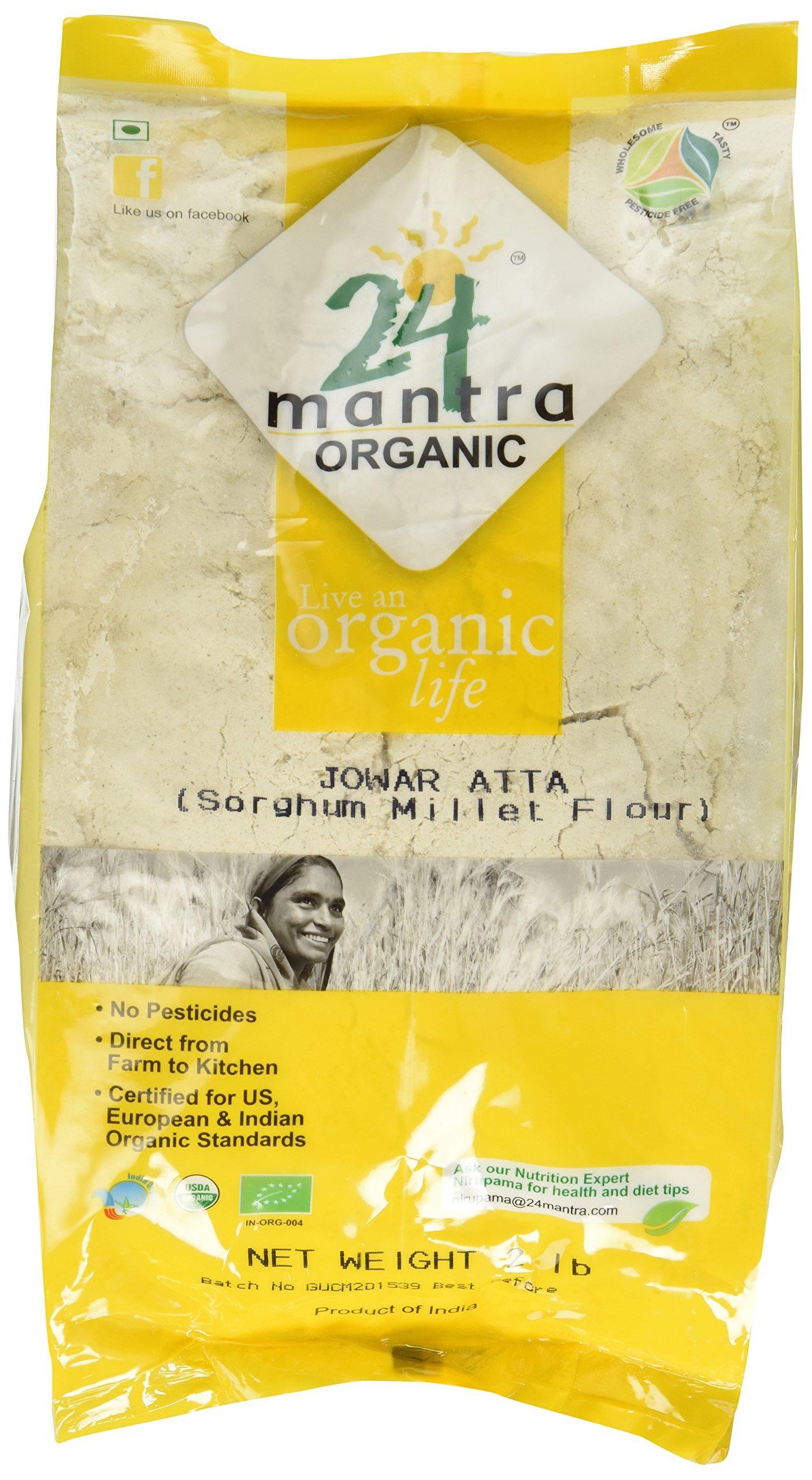 Organic Jowar Flour - Sorghum Flour Superfine - ★ USDA Certified Organic - ★ European Union Certified Organic - ★ Pesticides Free - ★ Adulteration Free - ★ Sodium Free - 2 Lbs - 24 Mantra Organic