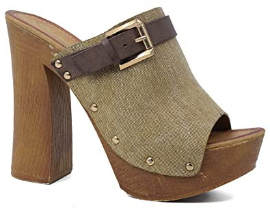 10188c5d53d7 MaxMuxun Womens Beige Demin Block Heels Platform Dress Sandals Size 36 EU  5  US