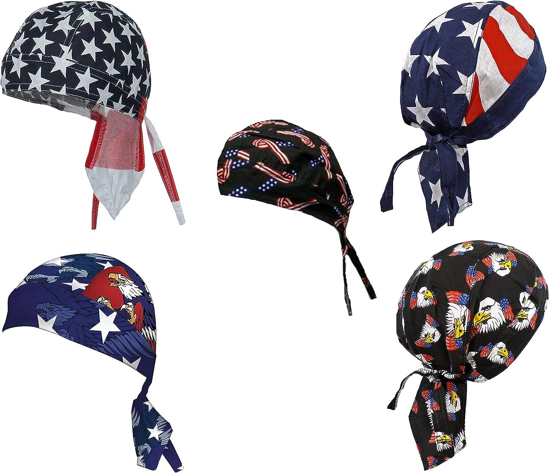 American Flag Doo Rag Patriotic Skull Caps Eagle Stars and Stripes