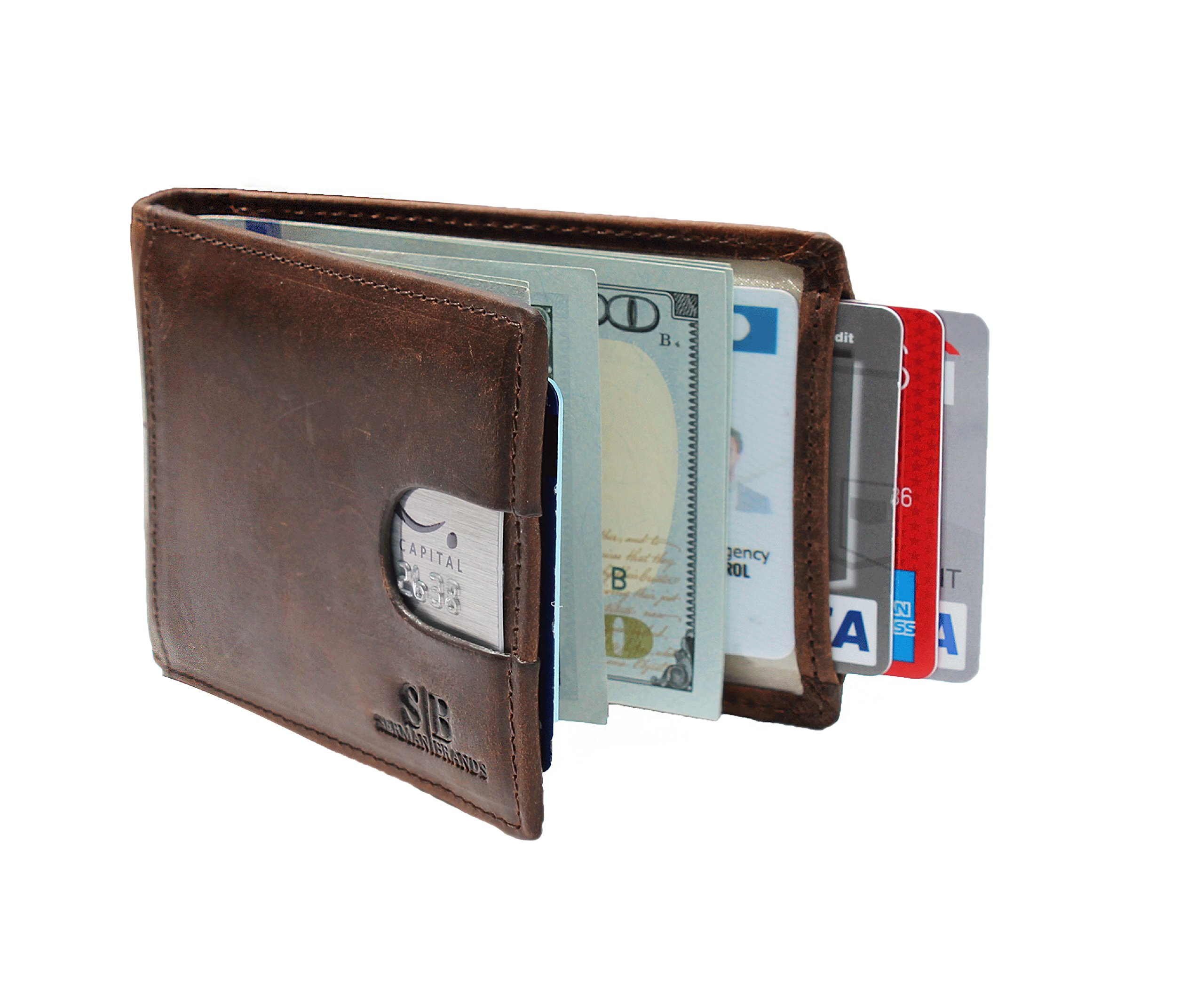 Travel Wallet RFID Blocking Bifold Slim Genuine Leather Thin Minimalist Front Pocket Wallets for Men with Money Clip - Made From Full Grain Leather (Texas Brown 1.0) by SERMAN BRANDS