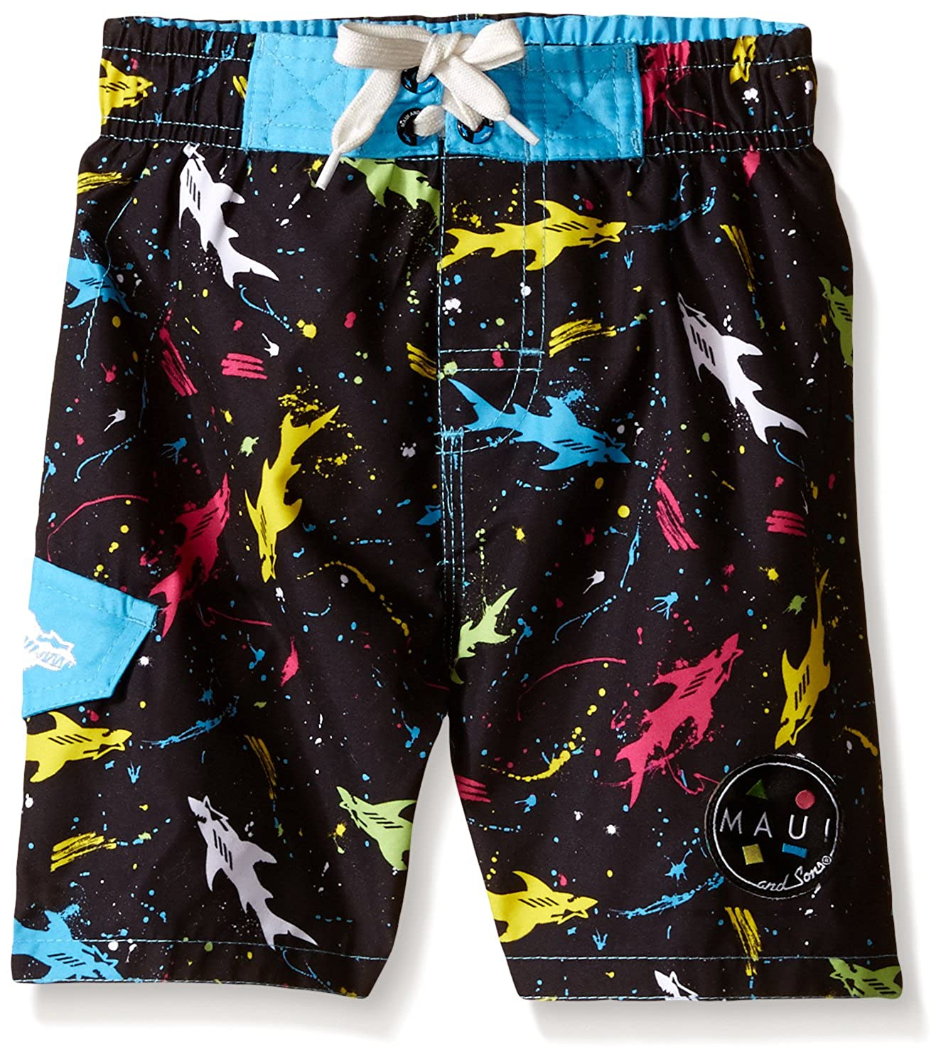 Maui & Sons Boys' Swim Trunk With Multi Color Shark Print 301MZ