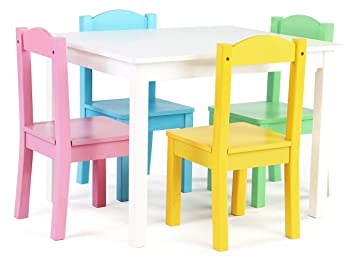 Exceptional Tot Tutors Kids Wood Table And 4 Chairs Set, White/Pastel (Pastel Collection