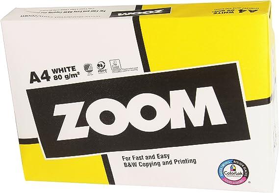 Zoom ZOOMA4 Paquete de 500 Hojas de Papel para Fotocopiadora, A4, 80 Gramos: Amazon.es: Oficina y papelería