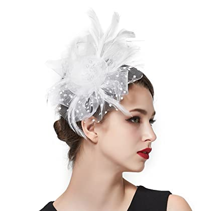 3182676b0b9 ... Zivyes Fascinators Hat for Women Tea Party Headband Kentucky Derby  Wedding Cocktail Flower Mesh Feathers Hair ...