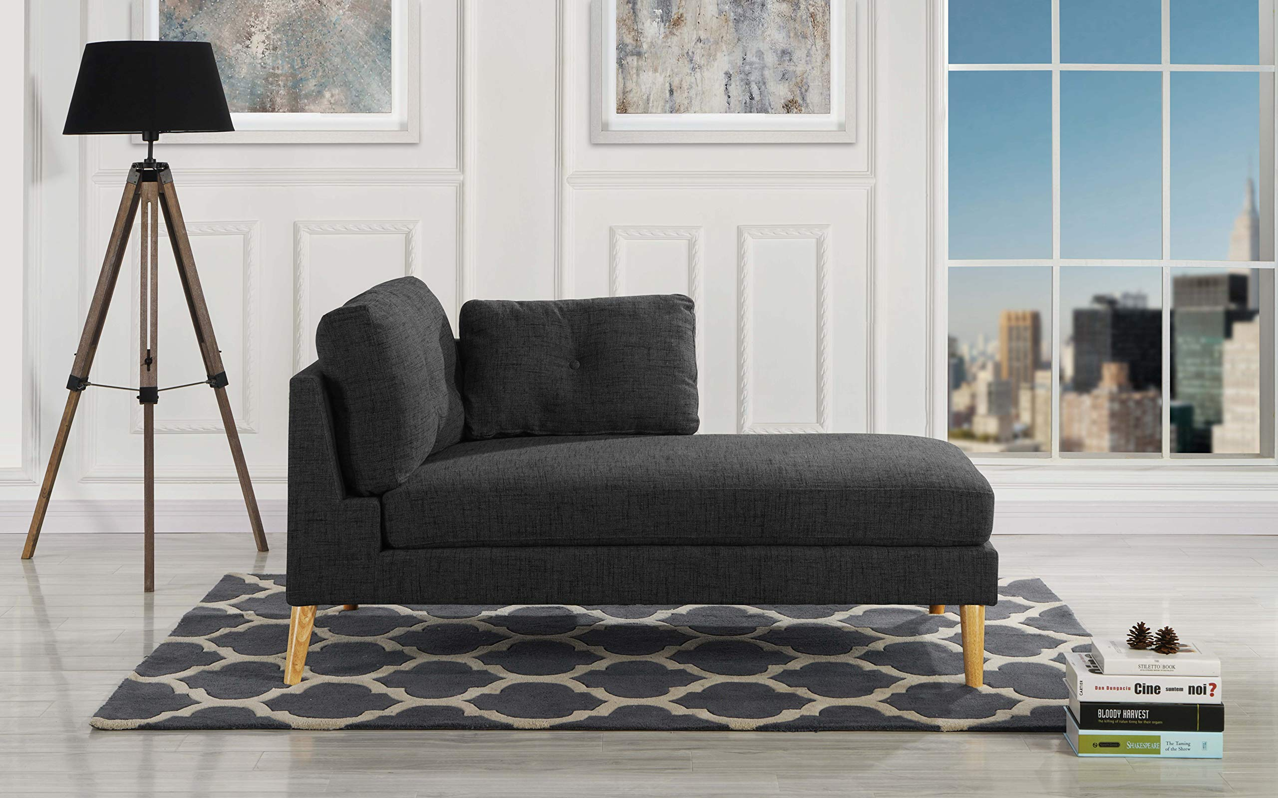 Modern Upholstered 59.4'' inch Linen Chaise Lounge (Black) by Casa Andrea
