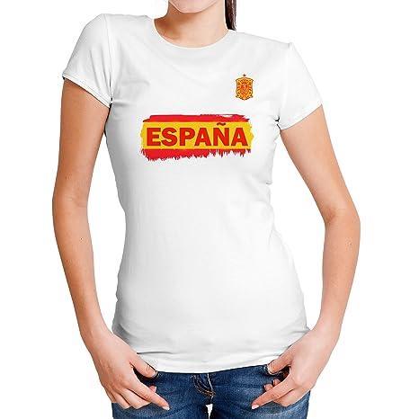 Lolapix Camiseta España Blanca Personalizada con Nombre y número. Camiseta  de algodón. Regalo para c8738f6f48241