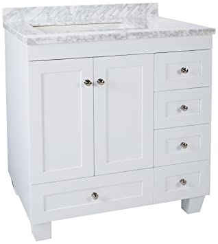 eviva acclaim caroline 30 inch white bathroom vanity set with off set sink