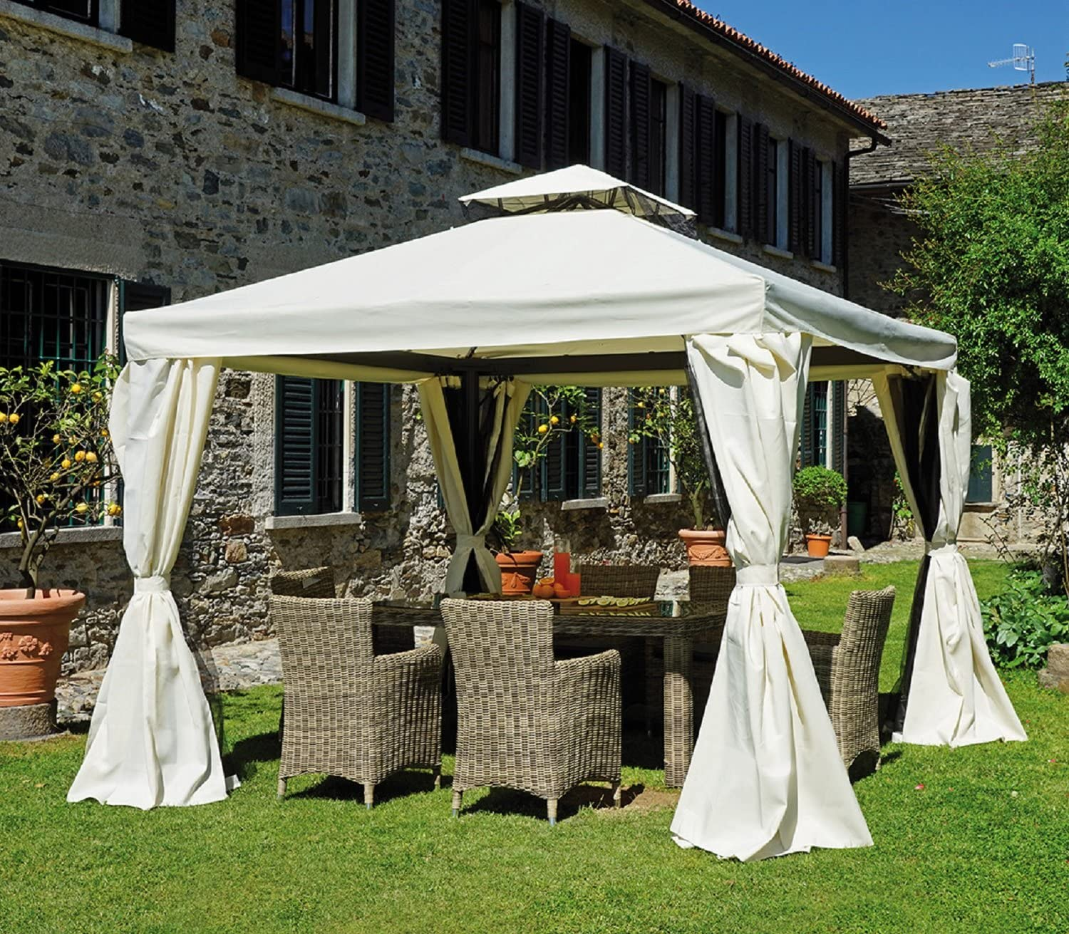 Gazebo cuadrado 3x3 con cortinas laterales: Amazon.es: Jardín