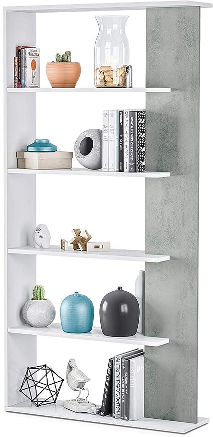 Habitdesign Estantería 5 baldas, Librería Comedor, Salon, Modelo Alida, Acabado en Color Blanco Artik y Gris Cemento, Medidas: 180 cm (Alto) x 90 cm ...
