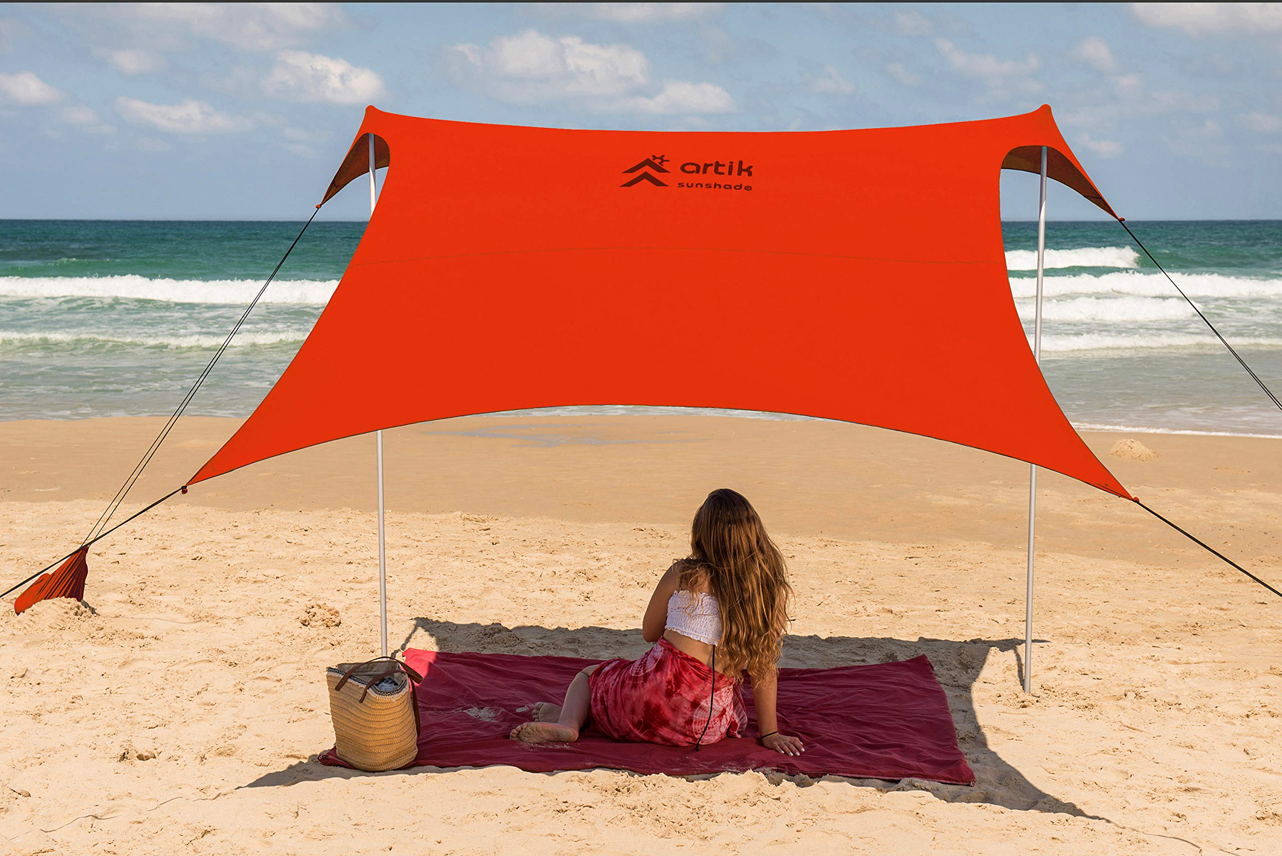 Family Beach Sunshade, with Sandbag Anchors, Simple & Versatile. SPF50, Lycra SunShelter for The Beach,Camping and Outdoors. (Coral, Large) by ARTIK SUNSHADE