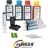 Refill24 Compatible Ink Cartridge Refill Kit for HP 301/301 XL Black and Colour Ink Bottles with Clip and Accessories