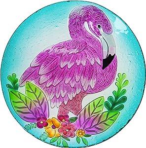 Evergreen Garden Flamingo Embossed Glass Bird Bath - 18 x 2 x 18 Inches.64oz. Outdoor Décor for Your Garden, Patio or Lawn. Bird Lovers Glass Bird Bath or Feeder Dish