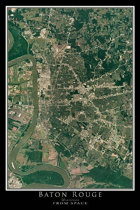 Amazon Com Terra Prints Baton Rouge Louisiana Satellite Poster Map