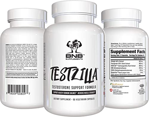TESTZILLA – Testosterone Booster for Men – 90 Vegetarian Capsules – DHEA – DIM – KSM66 – by BNB Supplements