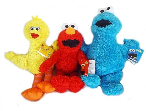 Elmo Big Bird And Cookie Monster Fuzzy Plush Toy Sesame Street Gift Set