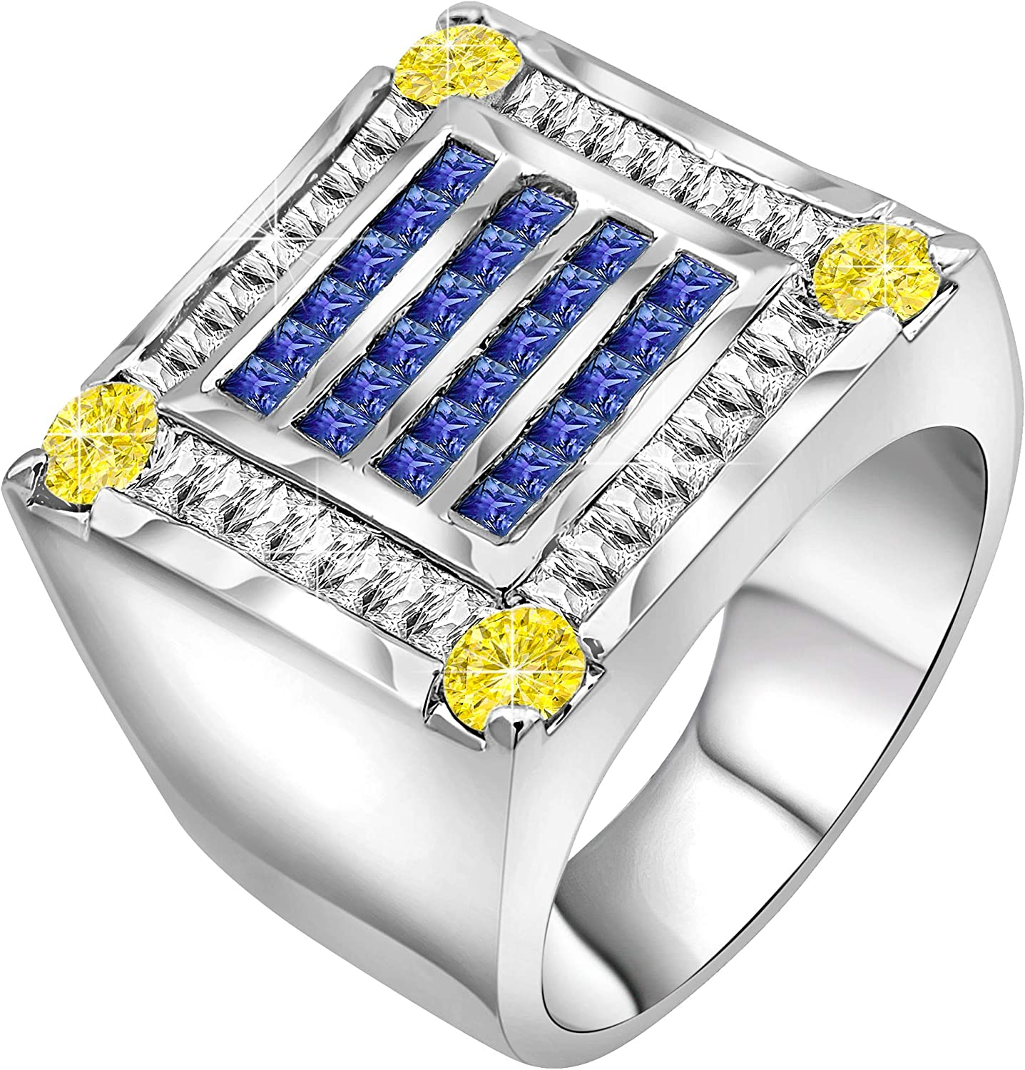 Sterling Manufacturers Men's Sterling Silver .925 Ring Featuring 56 Fancy Canary Yellow and Azure Blue Cubic Zirconia CZ Stones, Platinum Plated Flashy Design. Hand Polished.
