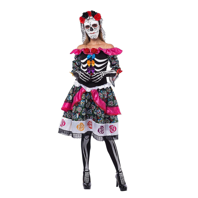 683a09509 Amazon.com: Spooktacular Creations Women's Day of The Dead Spanish Costume  Set for Halloween Lady Dress Up Party, Dia de Los Muertos (Medium) Black:  ...