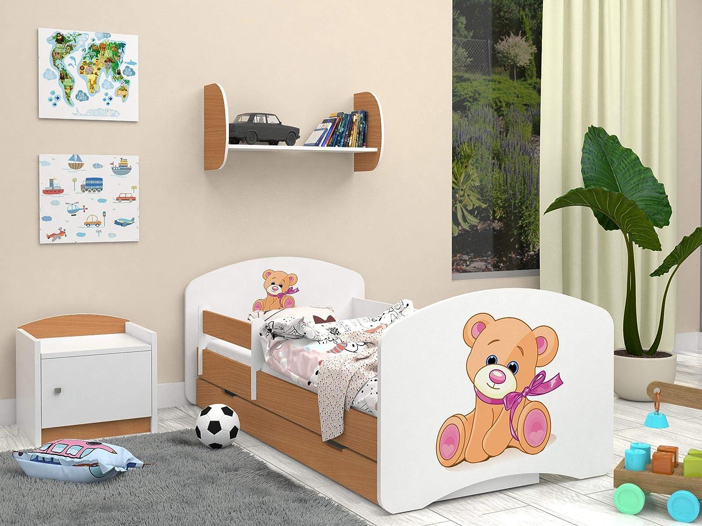 Happy Babies LIT DENFANT DOUBLE FACE AVEC TIROIR Design moderne avec bords s/écuris/és et matelas en mousse antichute 7 cm Safari, 140x70