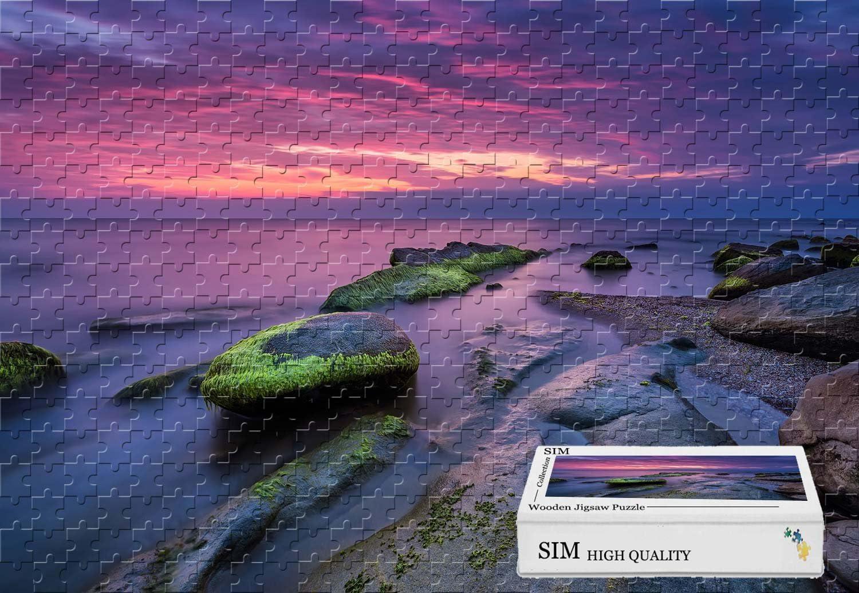 Sim、プレミアム木製DIYギフトボックスでギフトラップ部屋Mural – 美しいSeascape Sunset Stones Moss夕暮れ、20.6 X 15.1インチ – 300ピースジグソーパズル