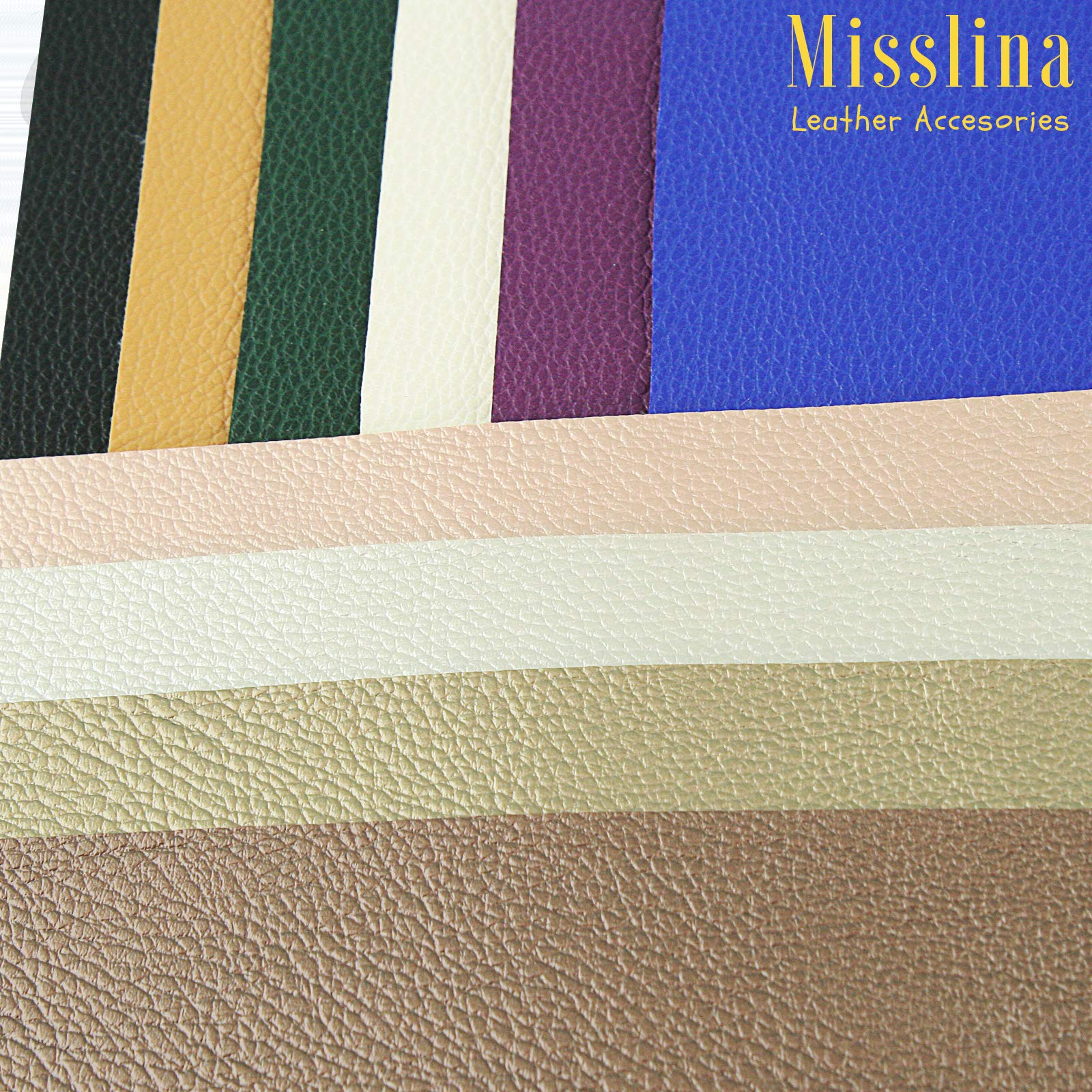 Faux Leather Sheets for Leathercraft Accesories with Cotton Fabric Back- 8'' x 13''(20 x 34 cm) Pack of 10 Faux Leather for Earring Making, Ribbon Bowls Crafts Making- 10 Colours of Faux Leather Sheets by MissLina Faux Leather Accesories (Image #7)