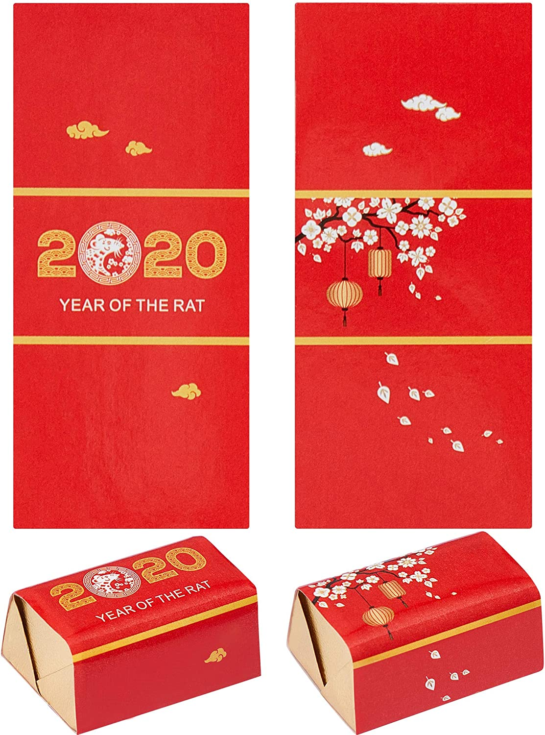 200 Pieces Chinese New Year Candy Sticker Mini Candy Bar Wrapper Stickers Chocolate Drops Labels Stickers Wrapper Sticker for Chinese New Year Party