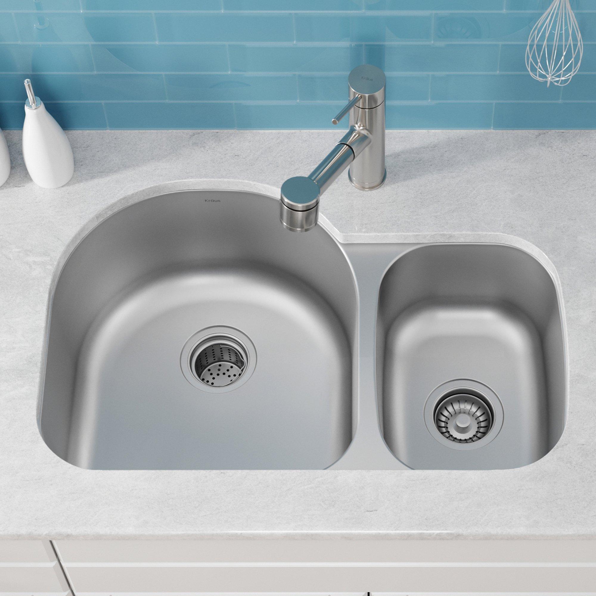 Kraus KBU21 30 inch Undermount 60/40 Double Bowl 16 gauge Stainless Steel Kitchen Sink by Kraus (Image #2)