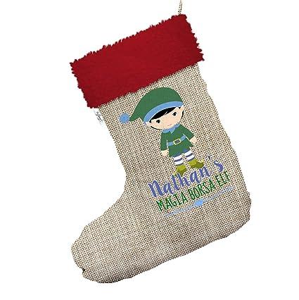 Personalizado magia – Bolsa Jumbo de elfo de Navidad calcetines de medias con ribete de color