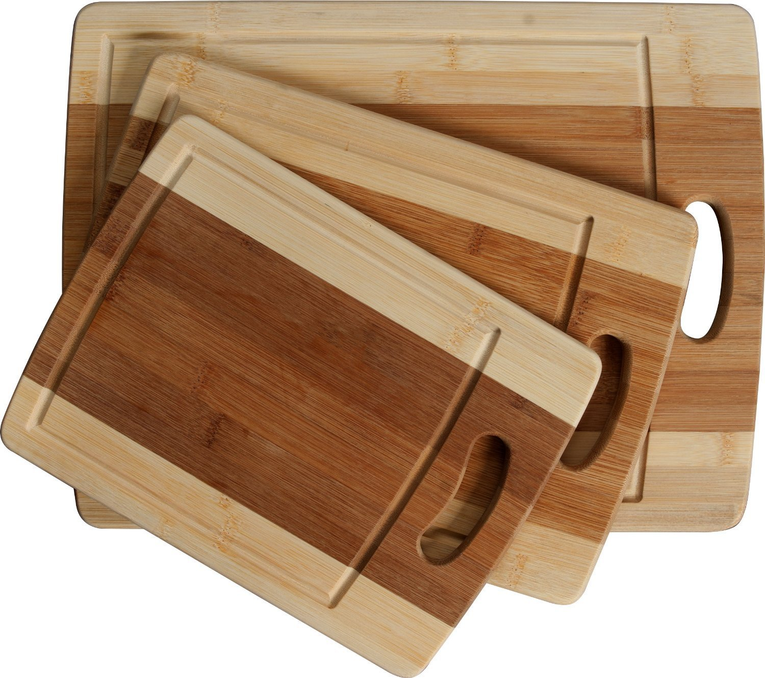 KP Connections 3-Piece Bamboo Cutting Board Set: Organic Wooden boards with juice grooves and handle Kitchen Plus Connections