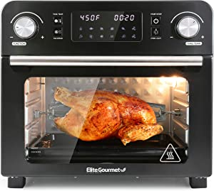 Elite Gourmet EAF9310 Maxi-Matic Digital Programmable Fryer Oven, Oil-Less Convection Oven Extra Large 23L. Capacity, Grill, Bake, Roast, Air Fry, 1700-Watts, Black