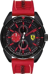 Ferrari Men's Forza Quartz Black IP and Silicone Strap Casual Watch, Color: Red (Model: 830576)