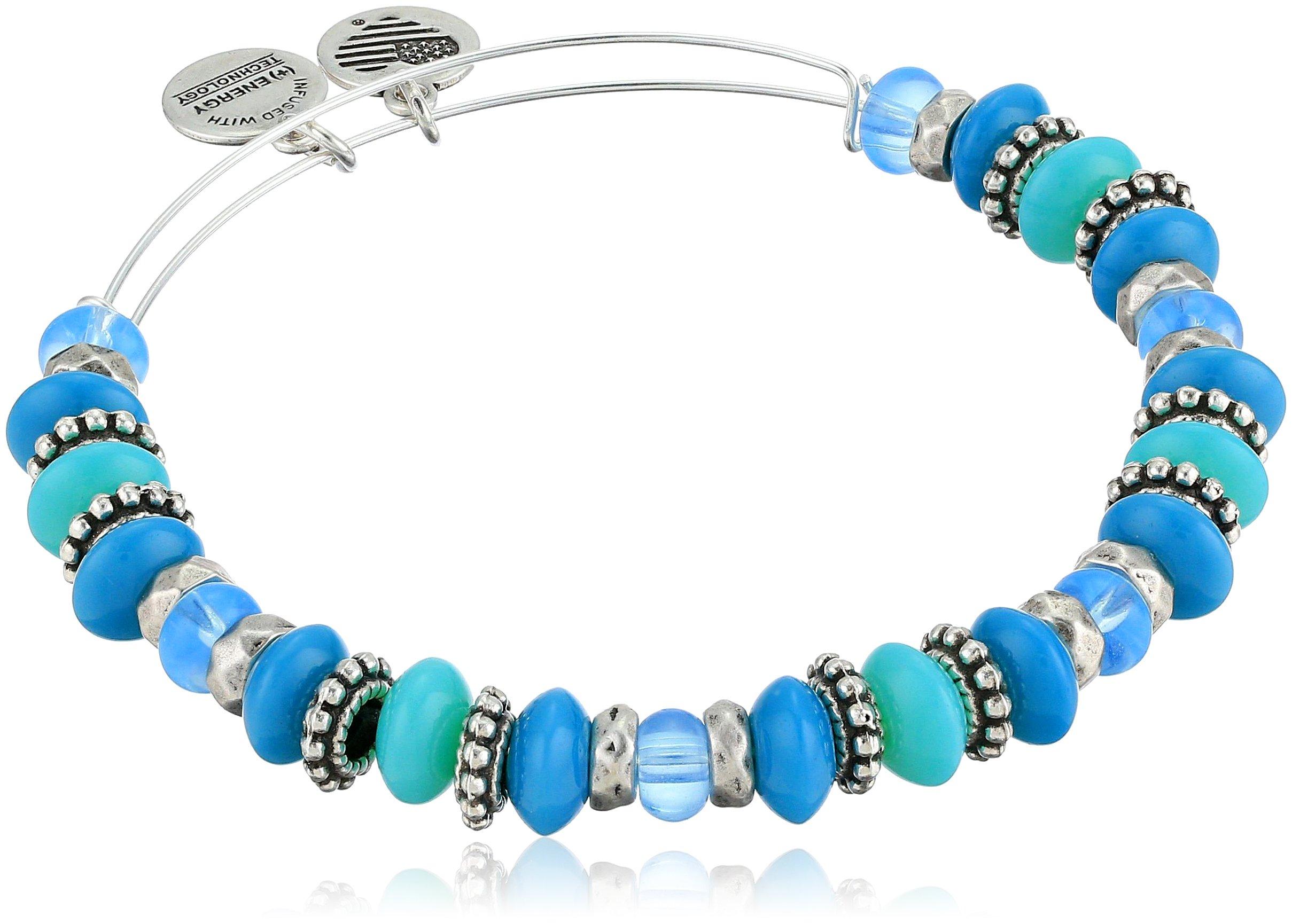 Alex and Ani Women's Horizon Ocean Bangle Bracelet, Rafaelian Silver, Expandable