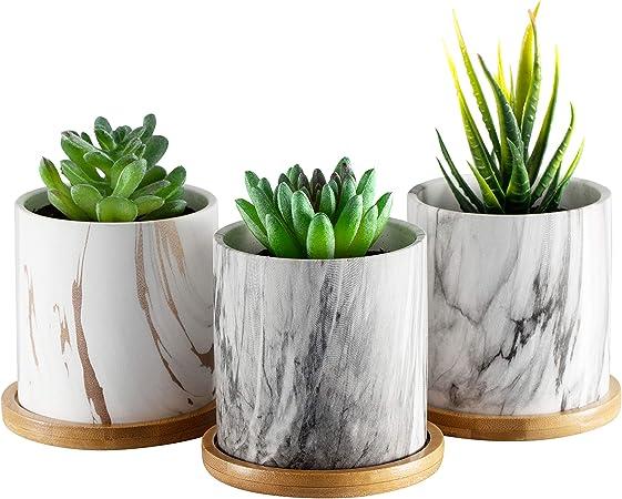 Amazon Com Dsben 3 5 Inch Succulent Plant Pots Small Marble