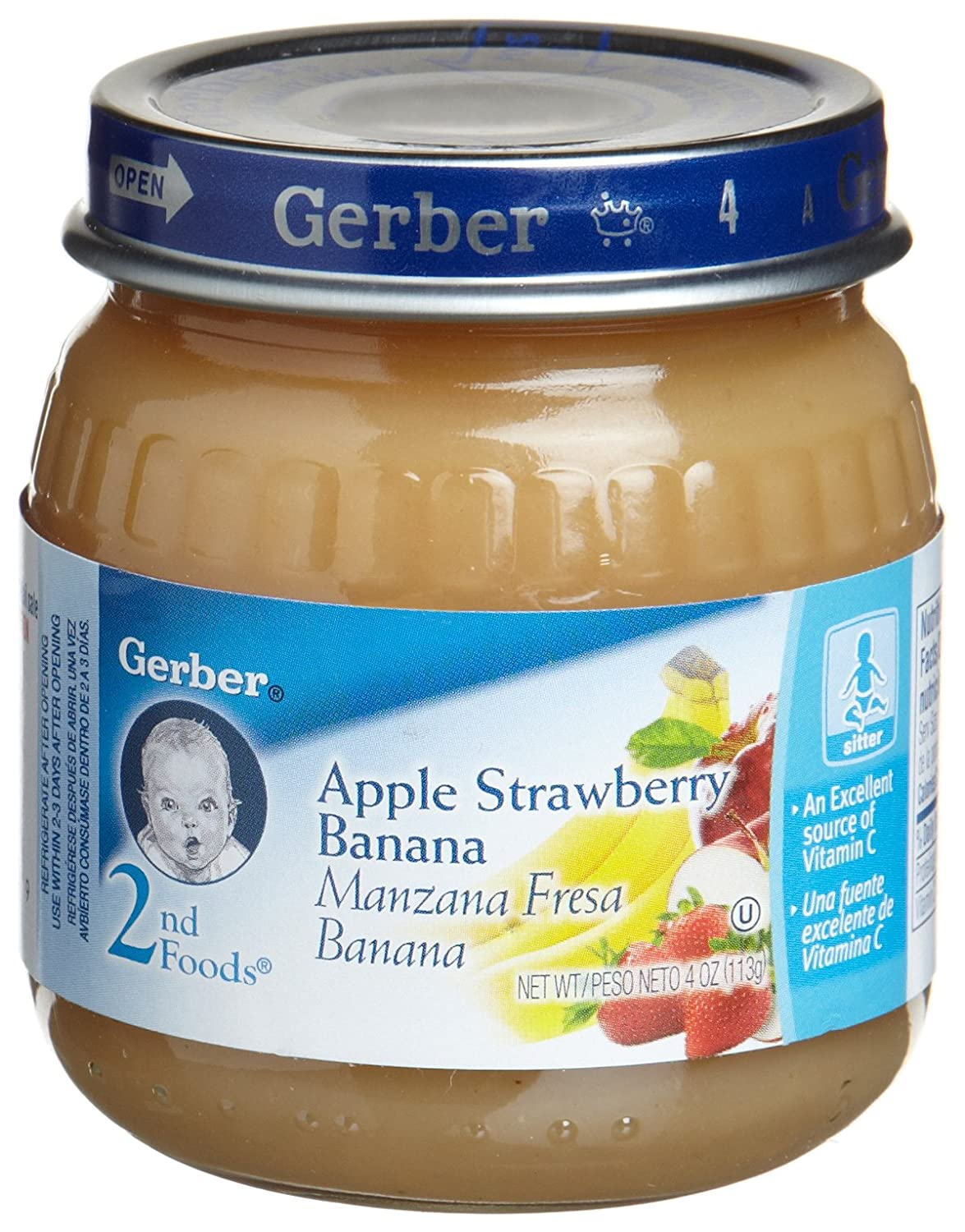Gerber 2nd Foods Apple, Strawberry & Banana, 4-Ounce Jars (Pack of 12): Amazon.com: Grocery & Gourmet Food