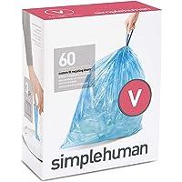 simplehuman Code V Custom Fit Recycling Drawstring Trash Bags, 16-18 Liter / 4.2-4.8 Gallon, 3 Refill Packs (60 Count) - Blue