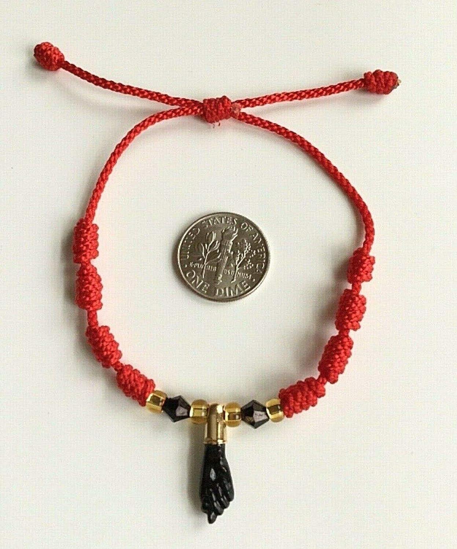 BLACK AZABACHE RED ROPE BRACELET FOR PROTECTION//PULSERA DE AZABACHE PARA PROTECCION.-B53