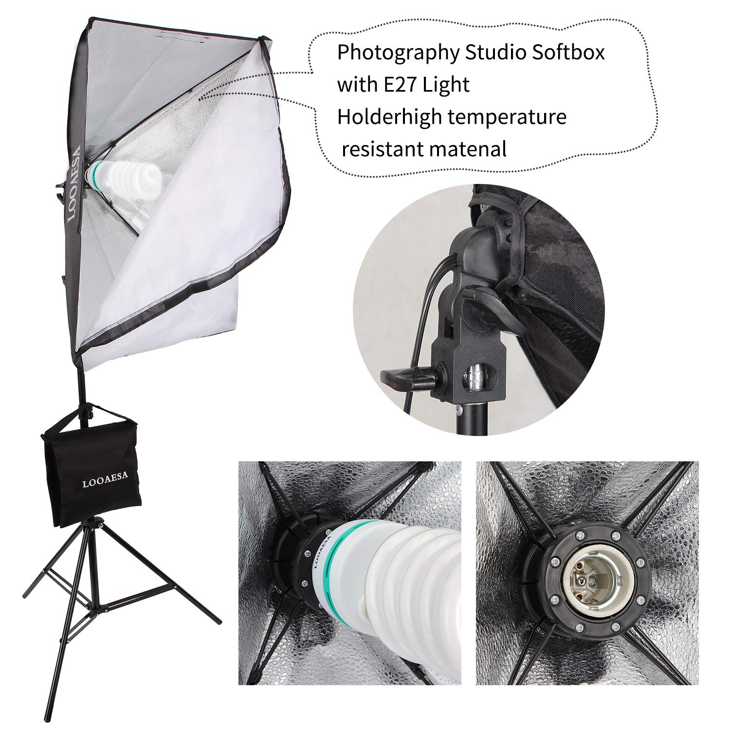 1350W Photography Lighting Softbox Lighting Kit Continuous Photo Video Lighting System with Sandbag and 5500K Bulb 20''X28'' Professional Studio Lights Equipment for Youtube Filming Portraits by LOOAESA by LOOAESA (Image #8)
