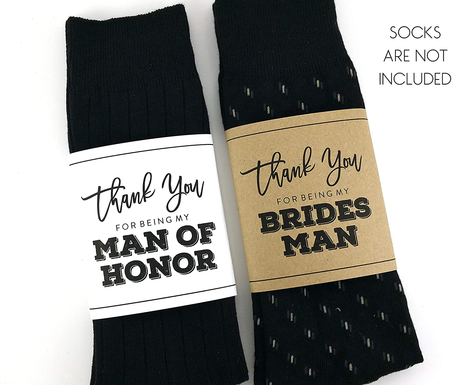 Thank you for being my Bridesman Sock Wrapper, Thank you for being my Man of Honor Sock Wrapper, Wedding Socks Wrapper, Wedding Socks Label (SOCKS NOT INCLUDED)