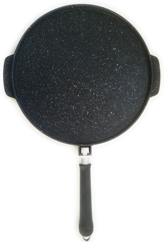 28 fond ray/é avec manche amovible cm Po/êle plaque grill Eco Stone Double cuisson fonds lisse