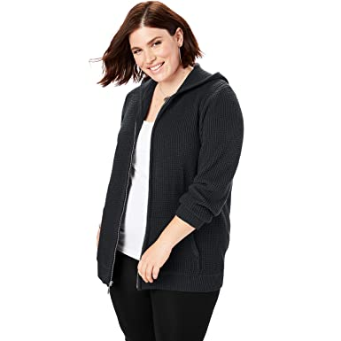 45eae8662c3e Roamans Women's Plus Size Thermal Hoodie Cardigan at Amazon Women's ...