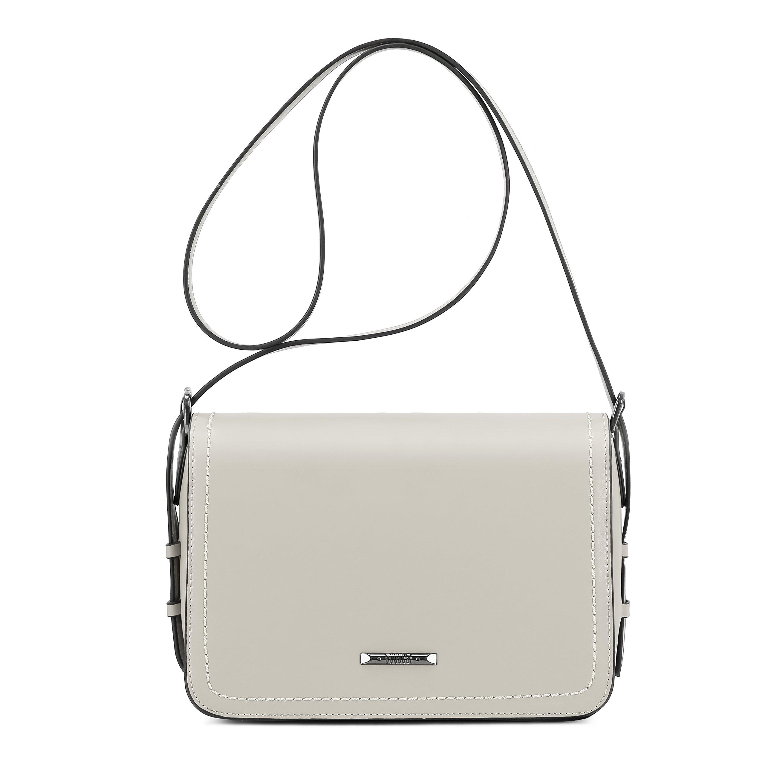ECOSUSI Women's Crossbody Shoulder Bags Fashion FlapoverPurse with Adjustable Shoulder Strap, Grey