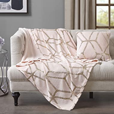 Comfort Spaces Microplush Shiny Metallic Print Blanket with Matching Pillow Cover, Light-Weight Soft Throws for Couch, Bed, 50 x60 , Blush