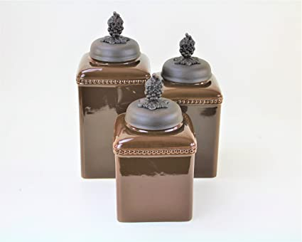 LARGE 3 PC CERAMIC KITCHEN CANISTERS (BROWN, COPPER GRAPE)FREE SALT U0026 PEPPER