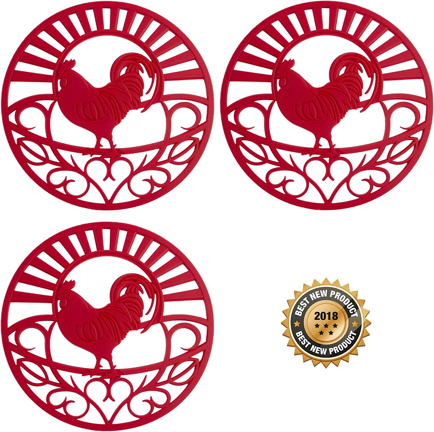 "Silicone Trivet Set For Hot Dishes, Pots & Pans. These Kitchen Hot Pads""Country Rooster"" Design (Symbol of Prosperity & Good Luck) Mimics Cast Iron Trivets (7.5 inch Round, Set of 3, Coral Red)"