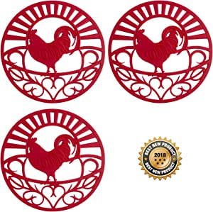 """Silicone Trivet Set For Hot Dishes, Pots & Pans. These Kitchen Hot Pads""""Country Rooster"""" Design (Symbol of Prosperity & Good Luck) Mimics Cast Iron Trivets (7.5 inch Round, Set of 3, Coral Red)"""